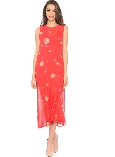 Beymen Studio Kolsuz Gül Desenli Midi Elbise Kırmızı